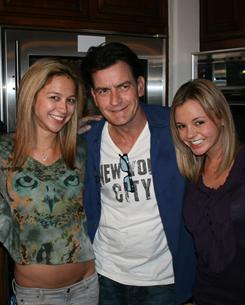 "On NBC's Today, Charlie Sheen introduces the two ""goddesses"" he is living with: Natalie Kenly, left, and Rachel Oberlin."