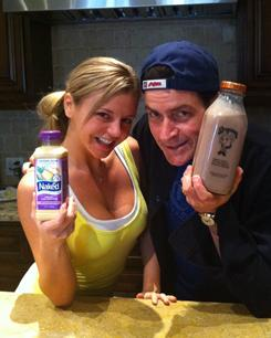 From Twitter: Charlie Sheen and Rachel Oberlin, the first posting on Sheen's verified Twitter account.