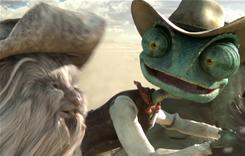 Spoons, (voiced by Alex Manugian), left, an old mouse chasing gold, and pet chameleon Rango (Johnny Depp), who's being chased by a hawk.