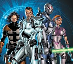 Bowen, center, his younger self, Bo, left, and their allies join in the fight against a future-world villain called The Infinite.