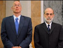 Henry Paulson, left, and Ben Bernanke in Inside Job, a documentary about the 2008 economic meltdown.