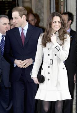Prince William and Kate Middleton leave City Hall in Belfast, Northern Ireland on Tuesday.