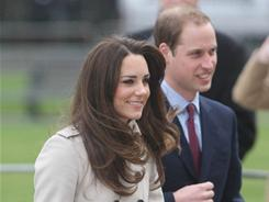 No sign of wedding jitters: Kate Middleton and Prince William during a visit last week to Belfast, Northern Ireland. They will tie the knot April 29.