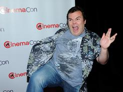Jack Black jokes around as he arrives to promote his upcoming film, Kung Fu Panda 2, during Cinemacon.