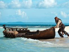 Captain Jack (Johnny Depp) attempts a quick getaway in Pirates of the Caribbean: On Stranger Tides.