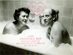 Julia and Paul Child sent this photo of themselves in their 1956 Valentine's Day card in response to the FBI's questioning of Paul's sexuality.