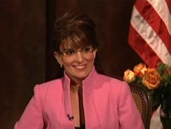 Tina Fey portrays  a mavericky  Sarah Palin on Saturday Night Live during  the 2008 presidential election.