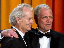 "Bill Murray, left, presented the Johnny Carson Award for comedic excellence to David Letterman, who said Carson ""gave me my career."""