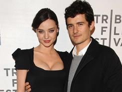 Orlando Bloom and wife Miranda Kerr arrive at the premiere of The Good Doctor.