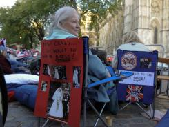 Shaaron Anderson of Seattle sets up outside Westminster Abbey in hopes of catching a glimpse of Kate Middleton's gown.