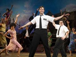 Andrew Rannells performs with an ensemble cast in The Book of Mormon  at the Eugene O'Neill Theatre in New York.