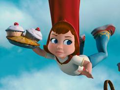 You'll toss your cupcakes, too! Red, voiced by Hayden Panettiere, tries to round up her errant pastries.