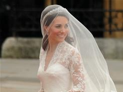 Kate Middleton arrives at Westminster Abbey to wed Prince William.