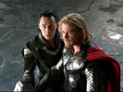 Thor, with Tom Hiddleston, left, and Chris Hemsworth as the god of thunder, was No. 1 at the box office this weekend.