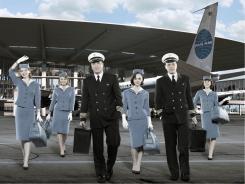 Kelli Garner, left, Margot Robbie, Jonah Lotan, Christina Ricci, Michael Moseley and Karine Vanasse star in Pan Am.