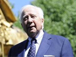 Capturing history: David McCullough, at the statue of Sherman in New York, has a new book, The Greater Journey: Americans in Paris.