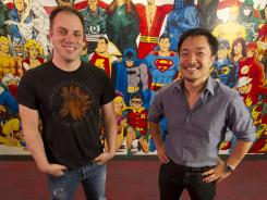 The architects: Geoff Johns, left, and Jim Lee are leading DC Comics' dramatic reworking of its iconic superhero characters and story lines.