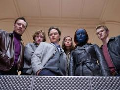 Michael Fassbender, left, Caleb Landry Jones, James McAvoy, Rose Byrne, Jennifer Lawrence and Lucas Till star in  X-Men: First Class.