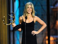 Actress Jennifer Aniston accepts her Decade of Hotness  award Spike TV's fifth annual Guys Choice Awards.