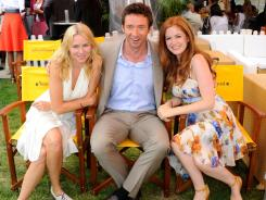 Naomi Watts, master of ceremonies Hugh Jackman and Isla Fisher attend the Veuve Clicquot Polo Classic at Governors Island.