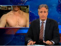 """Weiner uncovered: Daily Show host Jon Stewart tried to avoid the obvious jokes about his friend Anthony Weiner during Monday's telecast. """"This guy is ripped,"""" Stewart said about a photograph of a shirtless Weiner."""