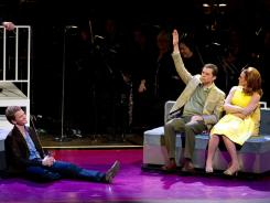 If you're a TV star, raise your hand: Neil Patrick Harris (as bachelor Robert), left, Jon Cryer and Jennifer Laura Thompson (as his married friends) in Sondheim's 'Company' with the New York Philharmonic.