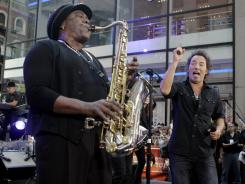 "Clarence Clemons, left, and Bruce Springsteen, right, perform on the NBC ""Today"" television program in New York's Rockefeller Center in 2007,"