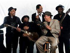 Living History: John Primer, left, Carlos Johnson, Billy Boy Arnold, Billy Branch and Lurrie Bell keep the blues alive.