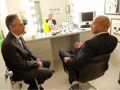 Ray Nagin, right, meets with host Jon Stewart before filming a segment for 'The Daily Show' to promote his new book. The former mayor says that in some ways, New Orleans is better now.