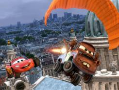 Up in the air: The race car Lightning McQueen, left (voiced by Owen Wilson), and tow truck Mater (Larry the Cable Guy) take flight.