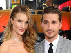 Rosie Huntington-Whiteley  and Shia LaBeouf  were part of the 'Transformers' takeover in Times Square.
