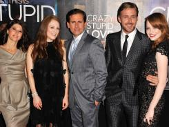 Marisa Tomei, left, Julianne Moore, Steve Carell, Ryan Gosling and Emma Stone share the 'Crazy, Stupid, Love'  spotlight.