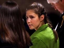Amanda Knox  during closing arguments in 2009. Knox is serving a  26-year prison term  for the murder of her British roommate.