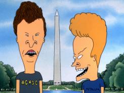 The animated characters Beavis and Butt-head visit the Washington Monument in a scene from the 1996 movie, 'Beavis and Butt-head Do America.'
