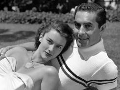 This July 1948 file photo shows actors Tyrone Power and Linda Christian in the Hollywood district of Los Angeles.