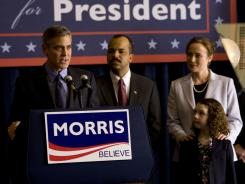 On the campaign trail:  Gov. Morris (George Clooney) gets support from his wife (Jennifer Ehle), daughter (Talia Akiva) and Sen. Thompson (Jeffrey Wright).