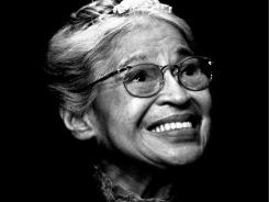 Rosa Parks smiles during a ceremony where she received the Congressional Medal of Freedom in Detroit.