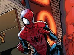 Ready for his close-up:  The new Spider-Man swings into action against a bad guy in  Ultimate Comics Fallout  #4.