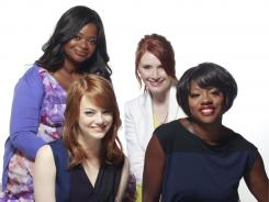 "was about revisiting the past,  a South I didn't know,"" says Octavia Spencer,  top left, who stars with, clockwise, Bryce Dallas Howard, Viola Davis  and Emma Stone."