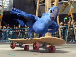 During Carnival, Blu skateboards to the rescue of his owner and best pal, Linda.