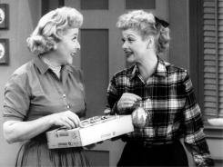 "Ethel Mertz (Vivian Vance), left,  and Lucy Ricardo (Lucille Ball) are best friends in ""I Love Lucy."""