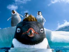 Slippery when melting:  Ramon, center (voiced by Robin Willaims), faces perils from a rapidly changing climate in  'Happy Feet Two in 3D .'