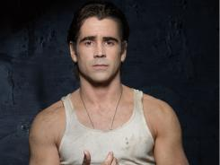Working hard: Colin Farrell traded carousing for workouts, and the results show in 'Fright Night,' out Friday, and  'Total Recall,' which is filming now.