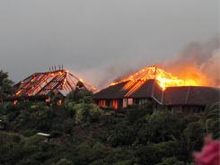 British entrepreneur Richard Branson's luxury home on Necker Island in the Caribbean burned to the ground on Monday.
