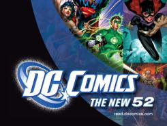 "Old and familiar, yet brand new:  A promotional poster highlights DC Comics' 52 new ""#1"" comic book series. Starting this week, the publisher is rebooting its entire line of superheroes."