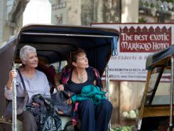 Evelyn (Judi Dench), left, and Madge (Celia Imrie) travel to visit a retirement home in India in the film, in theaters  March 9.