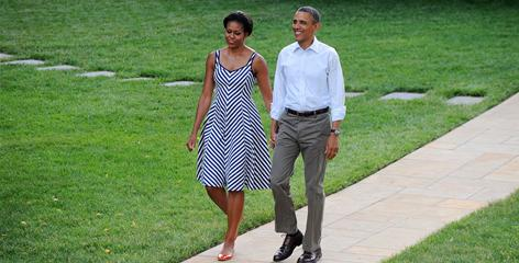 Stunning in stripes: Talbots' customers scooped up this patriotic look after Michelle Obama wore it while accompanying the president at the White House picnic.