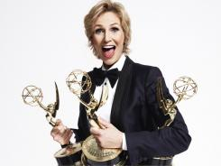 Can Emmy host and 'Glee' star Jane Lynch repeat as an Emmy winner for supporting actress in a comedy?