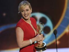 Kate Winslet accepts her award for outstanding lead actress in a miniseries or movie for her role in 'Mildred Pierce.'