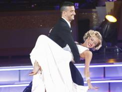 Moving on up: Mark and Kristin's quick step scored a 22, tying them for second with J.R. Martinez and Karina Smirnoff.